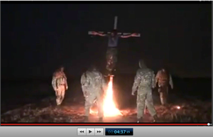 Pic 26. 20150425 BATALLION AZOV Crucifixtion w. Cross Burning !!! 18+ !!!.screenflow
