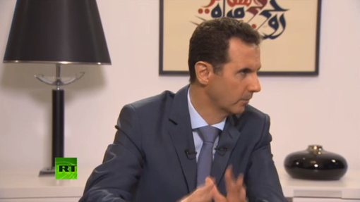 Pic 3. Assad's ISIS Interview, 'West Crying for Refugees with One Eye, Aiming Gun with the Other''